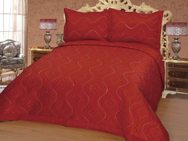 Satin-Bettüberwurf Set Diamant Rot 2 Personen
